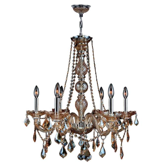 Worldwide Lighting Provence Collection 6 Light Chrome With Amber Crystal Chandelier