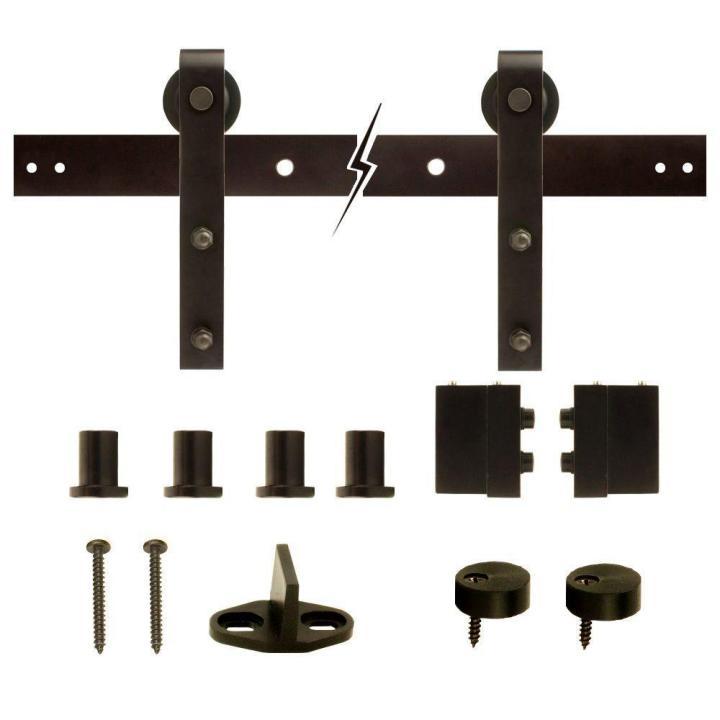 Dark Oil Rubbed Bronze Strap Sliding Barn Door Track And Hardware Kit