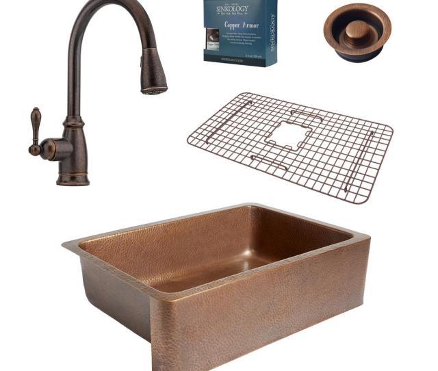 Sinkology Pfister All In One Adams  In Farmhouse Copper Kitchen Sink Combo