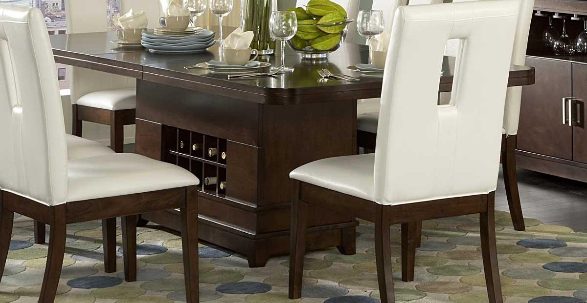 homelegance elmhurst dining table with wine storage