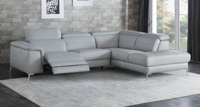 homelegance cinque reclining sectional sofa light grey