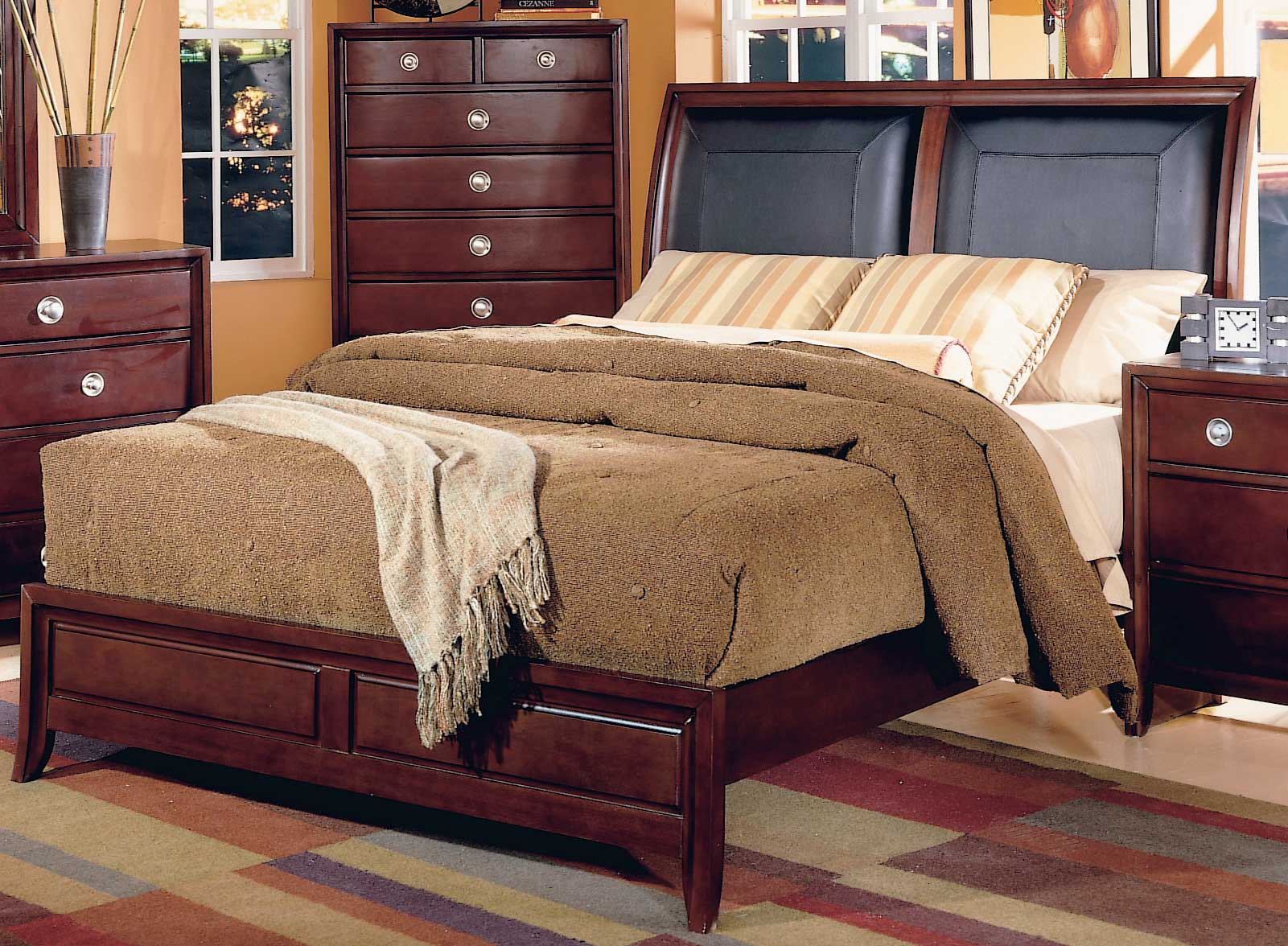 Homelegance Capria Sleigh Bed Leather Headboard 878ll 1 At Homelement Com