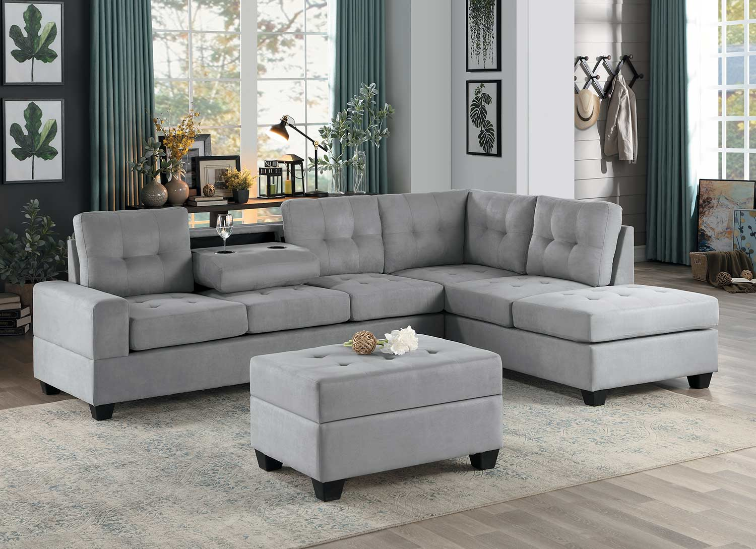 homelegance maston sectional sofa set light gray