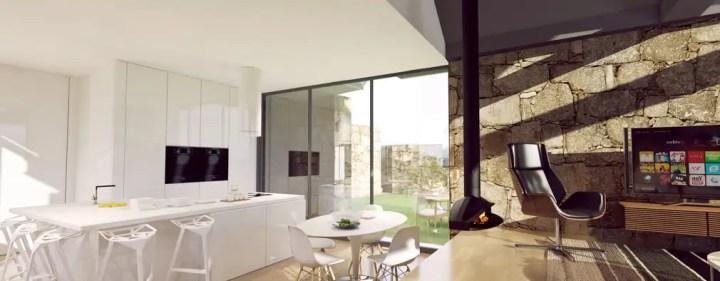sala de jantar e cozinha: Salas de jantar rústicas por Davide Domingues Arquitecto