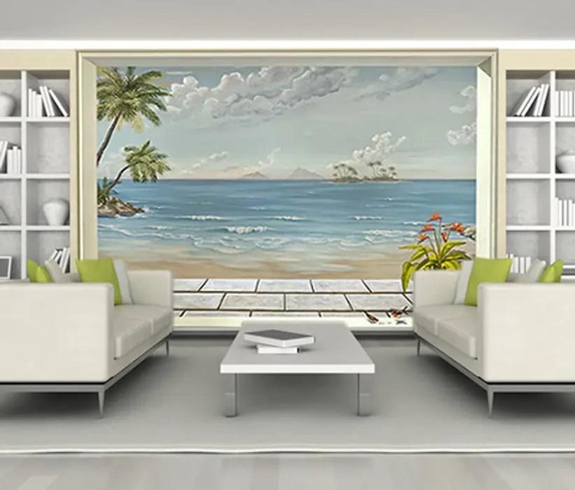 Poster Geant Trompe L Oeil Vue Sur Mer Tropicale Homify Murs Solspapier Peint Homify