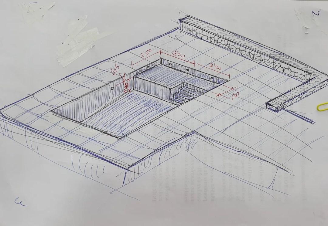 Boceto de la propuesta final de la nueva piscina
