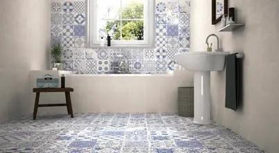 PATCHWORK TONOS AZULES Baños de estilo moderno de Gama Ceramica y Baño Moderno