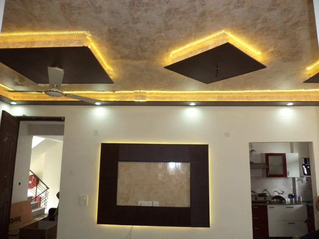 False Ceiling Design And Wallpaper Living Room By Mohali