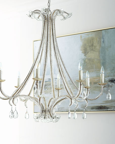 8 Light Glass Chandelier