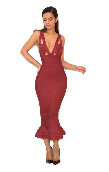San Jose Raspberry Fishtail Bandage Dress