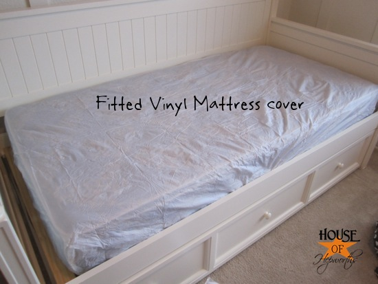 For My Daughter S Bed And Her Trundle I Start By Adding The Vinyl Mattress Cover