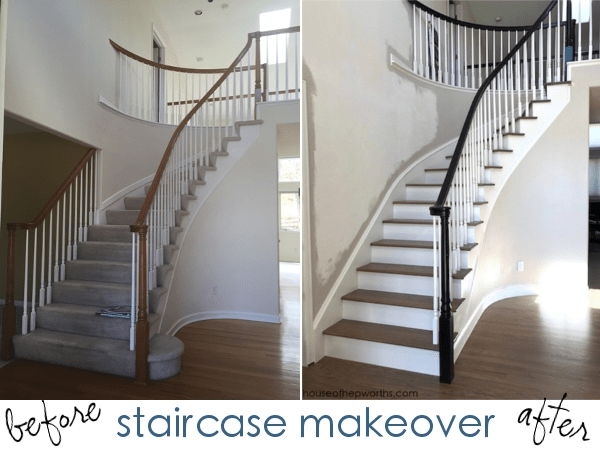 An Amazing Staircase Makeover From Carpet To Wood House Of   Wooden Stairs Carpet Landing   French Cap   Contemporary   Redo   Upstairs   Partially Carpeted