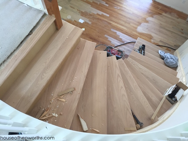 An Amazing Staircase Makeover From Carpet To Wood House Of | Carpet Landing Wooden Stairs | Patterned | Builder Grade | Light Wood | Red Oak Wood | Hardwood