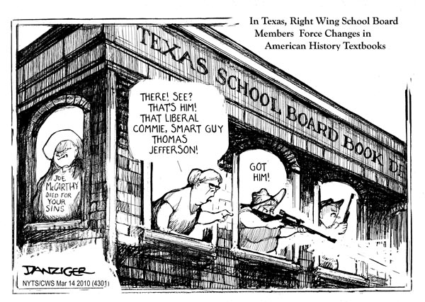 Jeff Danziger cartoon, for the New York Times Syndicate, on Texas State Board of Education