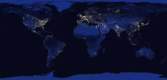 Image result for world from space at night