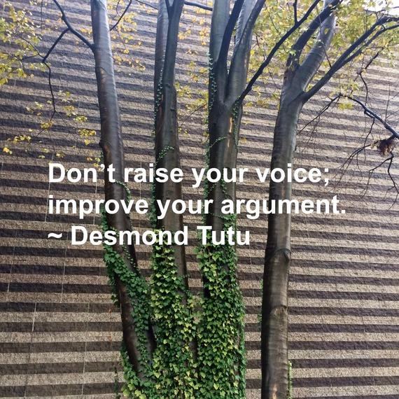 """Don't raise your voice; improve your argument."" ~ Desmond Tutu #quote http://charityideasblog.com A Dozen #Inspiring Quotes for an Insightful 2015"