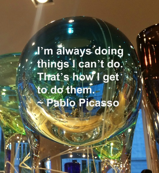 """I'm always doing things I can't do. That's how I get to do them."" ~ Pablo Picasso #quote http://charityideasblog.com A Dozen #Inspiring Quotes for an Insightful 2015"