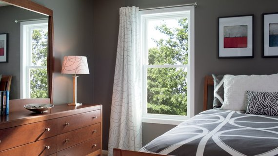 Best Bedroom Colors for Sleep   HuffPost gray blue wall in a sleeping room