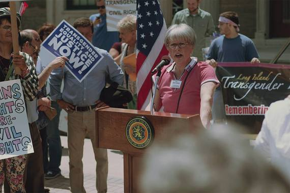 Juli Grey-Owens speaking at rally for transgender equality