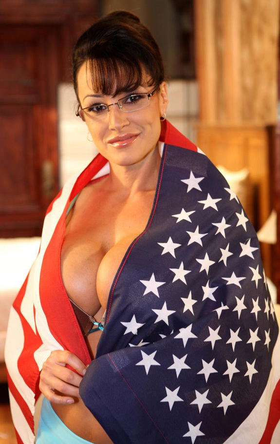 Lisa Ann from Nailin Paylin, the Sarah Palin Porno Video. All wrapped up in the flag. God bless America.