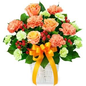 バラとオレンジリボンのアレンジメント