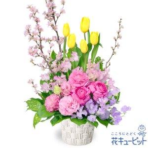 チューリップと桜のアレンジメント