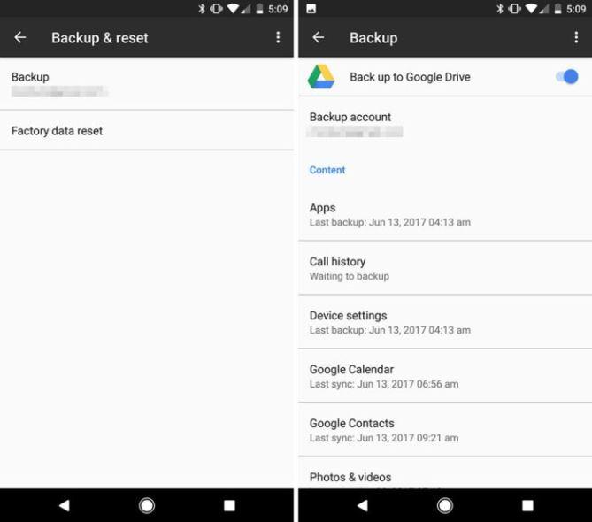 Настройки резервного копирования Android