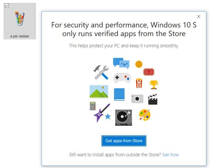 Windows 10 S app blocked