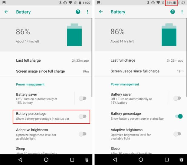 android o battery percent