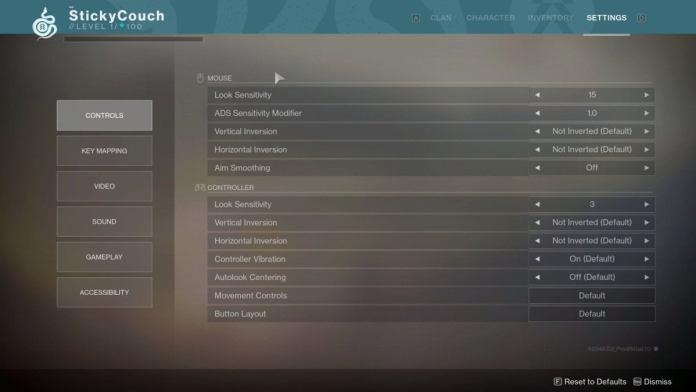 destiny 2 controls
