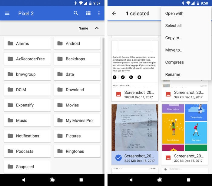 Android Oreo tips - file manager