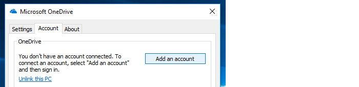OneDrive Windows10 add account