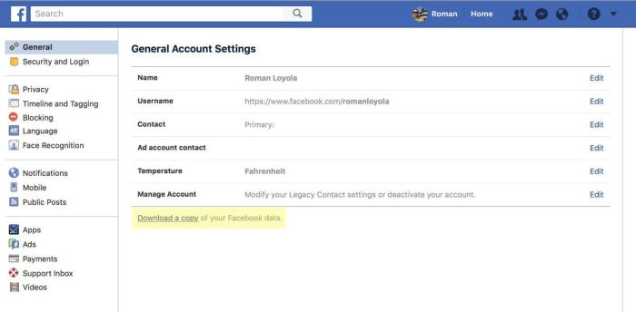 facebook data download link