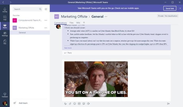 Microsoft Teams conversations tab