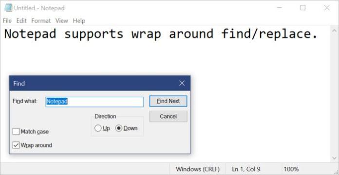 Microsoft notepad wrap