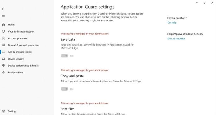 Microsoft wdag settings