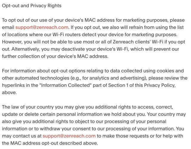 zenreach privacy policy opt out