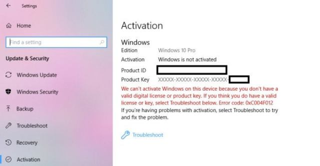 Windows 10 activation issues edit