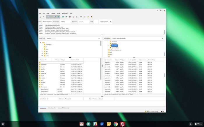 06 linux apps chromebook filezilla