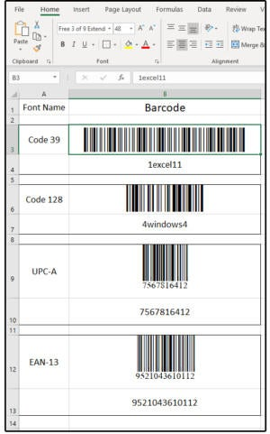 003 examples of barcode fonts in excel