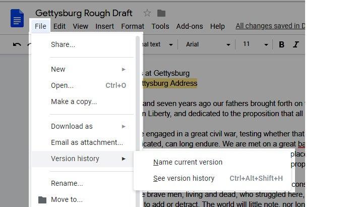 google drives collaboration version history 2