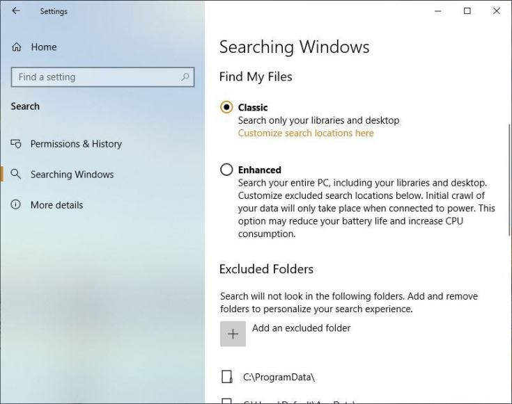 win10 v1903 review enhanced search
