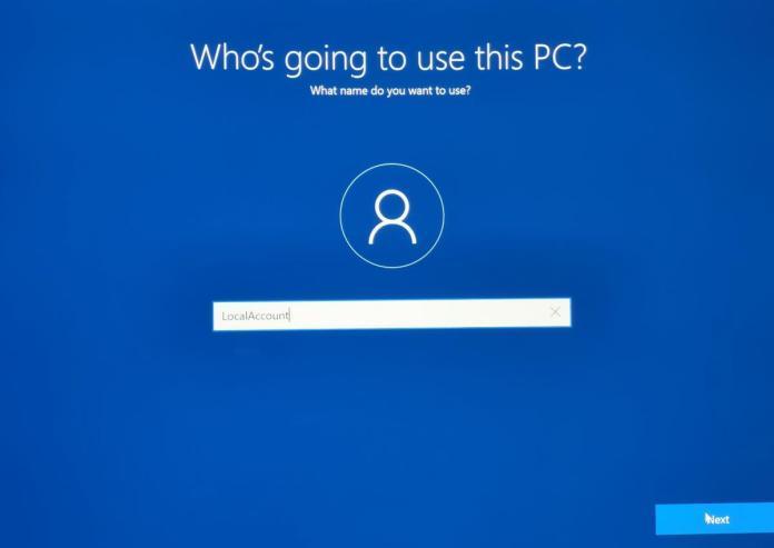 Windows 10 OOBE local account creation