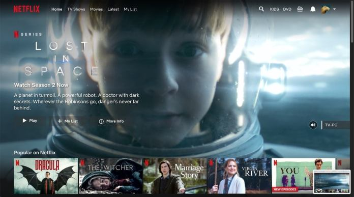 Netflix user interface