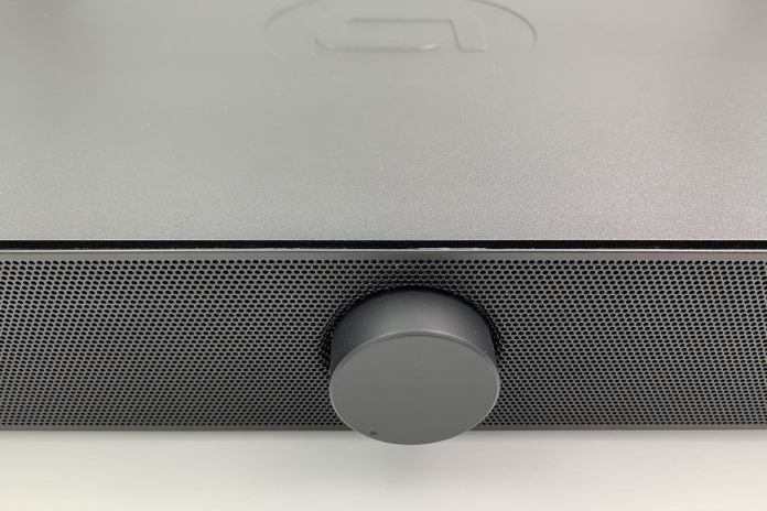 The Spinbase's front panel has a minimalist design with a volume knob.