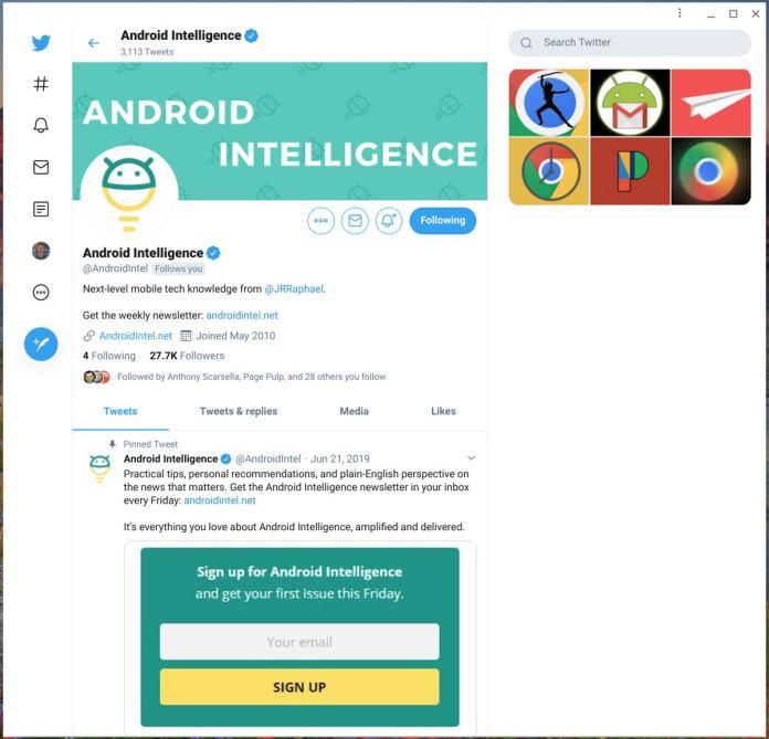 Chrome OS Apps: Twitter (PWA)
