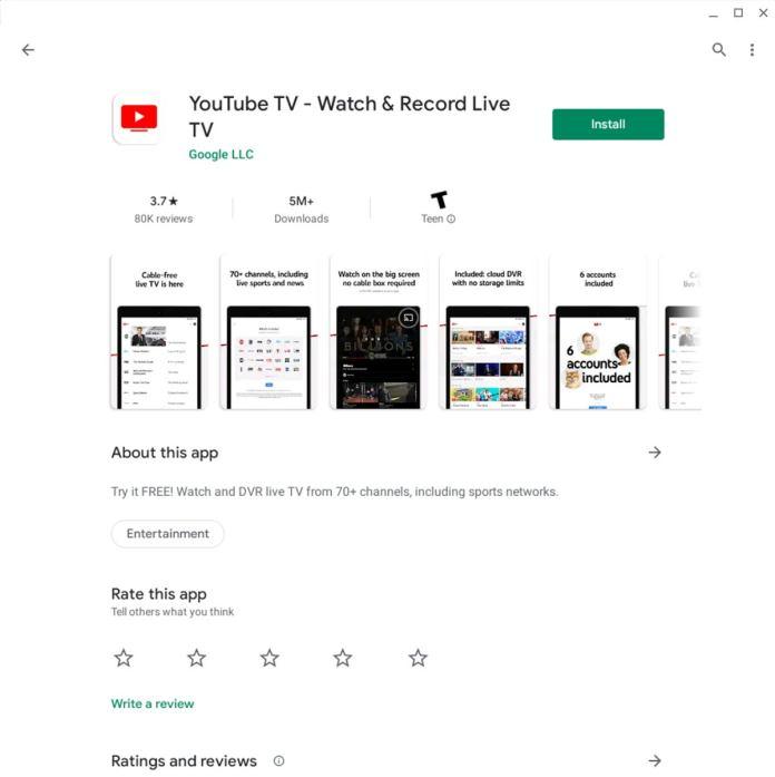 Chrome OS Apps: YouTube TV