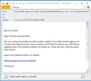fake public health agency of canada lure