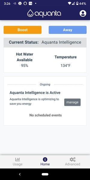 aquanta water avail and temp