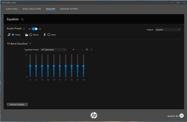 Элементы управления звуком HP Pavilion x360 14 bo